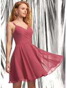 A-Line V-neck Short/Mini Chiffon Homecoming Dress With Ruffle