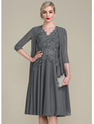 A-Line V-neck Knee-Length Mother of the Bride Dress With Beading