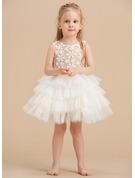 Ball-Gown/Princess Knee-length Flower Girl Dress - Satin/Lace/Cotton Sleeveless Scoop Neck