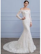 Trumpet/Mermaid Off-the-Shoulder Court Train Lace Wedding Dress With Beading Sequins