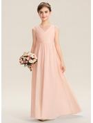 A-Line V-neck Floor-Length Chiffon Lace Junior Bridesmaid Dress With Ruffle