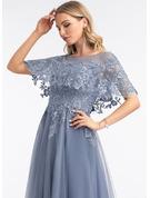 A-Line Scoop Neck Floor-Length Tulle Evening Dress