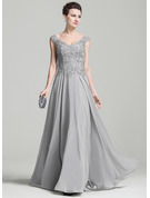 A-Line V-neck Floor-Length Chiffon Mother of the Bride Dress With Appliques Lace