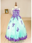 Ball-Gown/Princess Floor-length Flower Girl Dress - Tulle Sleeveless Scoop Neck With Beading (Petticoat NOT included)