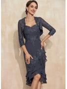 Sheath/Column Sweetheart Asymmetrical Chiffon Lace Cocktail Dress With Sequins Cascading Ruffles