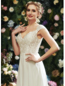 A-Line V-neck Floor-Length Wedding Dress With Lace