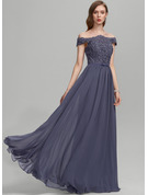 A-Line Off-the-Shoulder Floor-Length Chiffon Prom Dresses With Beading