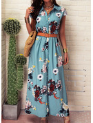 Floral Print A-line Shirt collar Short Sleeves Maxi Casual Vacation Shirt Dresses