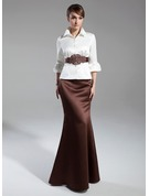 Trumpet/Mermaid High Neck Floor-Length Satin Mother of the Bride Dress With Sash