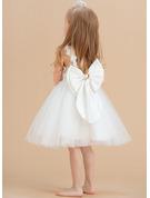 A-Line Knee-length Flower Girl Dress - Satin/Tulle/Lace Sleeveless Scoop Neck With Flower(s)/V Back