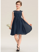 Empire Scoop Neck Knee-Length Chiffon Lace Junior Bridesmaid Dress With Ruffle Beading Sequins