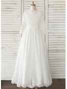 A-Line Sweep Train Flower Girl Dress - Tulle/Lace Long Sleeves V-neck