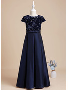 A-Line Floor-length Flower Girl Dress - Sequined Short Sleeves Scoop Neck With Sequins