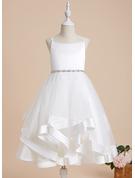 A-Line Tea-length Flower Girl Dress - Satin/Tulle Sleeveless Straps With Beading