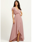 A-Line V-neck Asymmetrical Cocktail Dress With Split Front