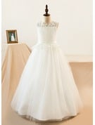 Ball-Gown/Princess Scoop Neck Floor-Length Tulle Junior Bridesmaid Dress With Sash Beading