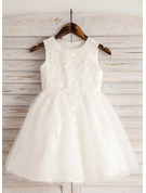 A-Line Knee-length Flower Girl Dress - Satin/Tulle/Lace/Cotton Sleeveless Scoop Neck With Appliques