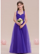 A-Line Sweetheart Floor-Length Tulle Junior Bridesmaid Dress With Ruffle
