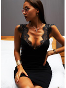 Solid Bodycon V-hals Ermeløs Midi Lille svarte Sexy Motekjoler