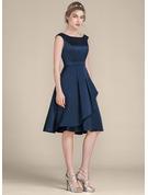 A-Line/Princess Scoop Neck Knee-Length Satin Bridesmaid Dress With Cascading Ruffles