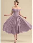 A-Line Off-the-Shoulder Tea-Length Chiffon Lace Bridesmaid Dress
