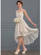 A-Formet V-hals Asymmetrisk Blonder Brudekjole