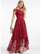 A-Line Scoop Neck Asymmetrical Lace Evening Dress