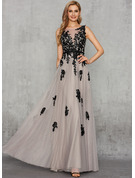 A-Line V-neck Floor-Length Tulle Evening Dress With Lace Sequins