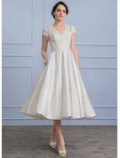 A-Line/Princess V-neck Tea-Length Satin Wedding Dress With Ruffle Pockets
