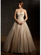Ball-Gown Sweetheart Floor-Length Tulle Prom Dresses With Ruffle Beading Appliques Lace Sequins