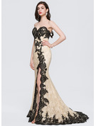 Trumpet/Mermaid Sweetheart Sweep Train Lace Prom Dresses With Sequins Split Front