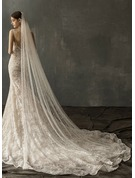 One-tier Chapel Bridal Veils With Faux Pearl