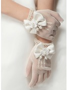White Polyester Wrist Length Glove