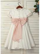 A-Line Knee-length Flower Girl Dress - Taffeta/Satin Short Sleeves Peter Pan Collar With Sash/Bow(s) (Undetachable sash)