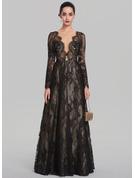 A-Line/Princess V-neck Floor-Length Lace Evening Dress