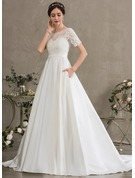 Ball-Gown/Princess Scoop Neck Court Train Satin Wedding Dress With Beading Sequins Pockets