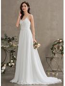 A-Line Sweetheart Sweep Train Chiffon Wedding Dress