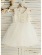 A-Line Knee-length Flower Girl Dress - Satin/Tulle Sleeveless V-neck With Beading