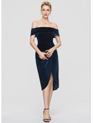 Sheath/Column Off-the-Shoulder Asymmetrical Velvet Cocktail Dress With Sequins