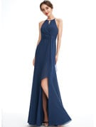 A-Line Halter Floor-Length Bridesmaid Dress With Ruffle Split Front