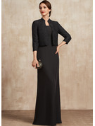 Sheath/Column Square Neckline Floor-Length Chiffon Mother of the Bride Dress