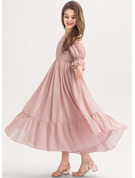 A-Line Square Neckline Ankle-Length Chiffon Junior Bridesmaid Dress With Ruffle Lace