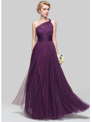 A-Line One-Shoulder Floor-Length Tulle Prom Dresses With Ruffle