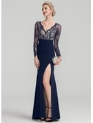 Sheath/Column V-neck Floor-Length Stretch Crepe Evening Dress With Beading Sequins