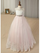 Ball-Gown/Princess Floor-length Flower Girl Dress - Tulle/Lace Sleeveless Scoop Neck With Sash/Beading (Undetachable sash)