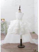 Ball-Gown/Princess Court Train Flower Girl Dress - Organza/Satin Sleeveless Scoop Neck With Ruffles/Beading/Appliques