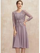 A-Line Square Neckline Knee-Length Chiffon Mother of the Bride Dress