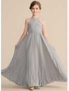 A-Line Scoop Neck Floor-Length Chiffon Lace Junior Bridesmaid Dress With Pleated