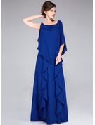 A-Line Cowl Neck Floor-Length Chiffon Mother of the Bride Dress With Beading Sequins Cascading Ruffles