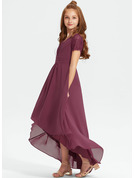 A-Line V-neck Asymmetrical Chiffon Lace Junior Bridesmaid Dress With Ruffle